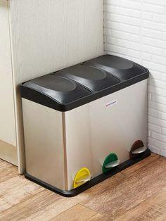 Contenedor Papelera Negro 60 Litros 3x20L 3er Set Cubo de Basura Cocina