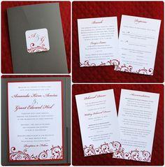 Dark Gray & Red Vintage Swirls, Scrolls & Dots Pocketfold Wedding Invitations