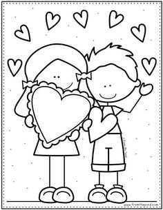 Coloring Club — From the Pond – Valentines Day İdeas 2020 Preschool Coloring Pages, Easy Coloring Pages, Cat Coloring Page, Valentines Day Drawing, Valentines Day Coloring, Valentines Day Activities, Valentines For Kids, Color Club, Easy Drawings