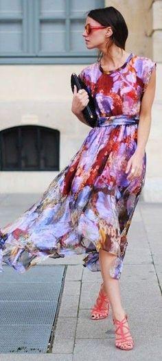 #spring #fashion | Watercolor Midi Dress |FashionVibe