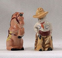 Vintage Ceramic Cowboy and His Trusty Horse Salt and Pepper Set