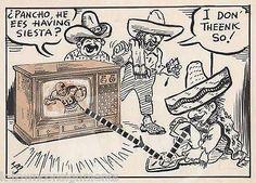 ORIGINAL HISTORICAL EPHEMERA NEWSPAPER PASTE-UP COMIC ART PANCHO, HE EES HAVING SIESTA? I DON'T THINK SO! MEXICAN AMERICANS ENJOYING NFL FOOTBALL ORIGINAL VINT
