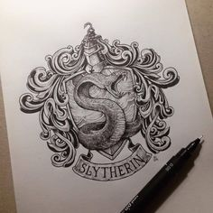 ideas for drawing ideas harry potter slytherin - Hogwarts Harry Potter Tattoos, Arte Do Harry Potter, Harry Potter Drawings, Illustration Pen And Ink, Desenhos Harry Potter, Harry Potter Wallpaper, Diy Tattoo, Tattoo Ideas, Draco Malfoy
