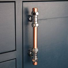 Modern Proper Copper and Chrome T Pull Handle. Knobs and Pulls Drawer Knobs, Drawer Handles, Cabinet Knobs, Drawer Pulls, Door Handles, Copper T, Pure Copper, Wardrobe Drawers, Copper Handles