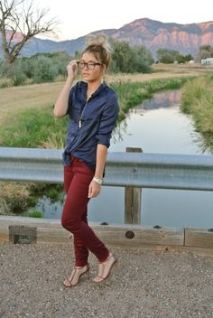 Bordeaux & navy for fall via caraloren.blogspot.com