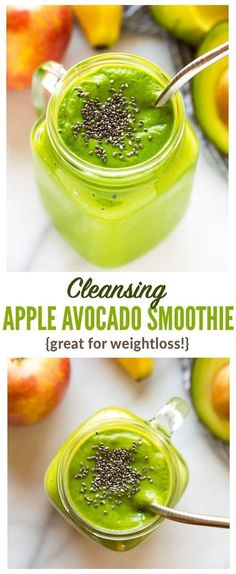 Cleansing Apple Avocado Smoothie with banana ginger and spinach. Vegan high fiber and perfect for weightloss this easy creamy vegan green smoothie will keep you full all morning! Smoothie Bowl Vegan, Smoothie Legume, Smoothies Vegan, Smoothies Healthy Weightloss, Smoothie Fruit, Smoothie Detox, Apple Smoothies, Healthy Breakfast Smoothies, Green Smoothie Recipes