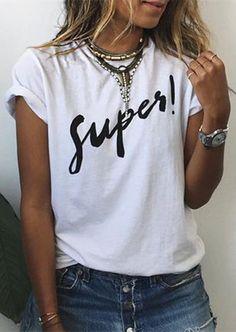 Brief Round Collar Short Sleeves Letter Print Women's T-Shirt