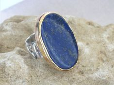Statement Silver Gold Ring-Lapis Lazuli by rioritajewelry on Etsy