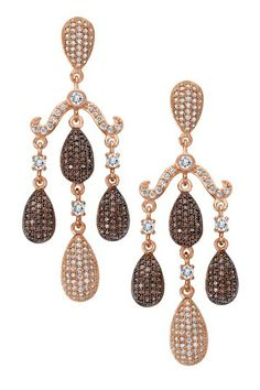 Rose Gold & Black Rhodium Over Sterling Silver Micro Pave Brown & White Earrings by Sparkle & Shine. I AM IN LOVE! THESE EARRINGS ARE GORGEOUS!