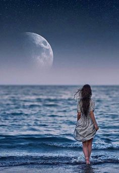 Moon pulls me to the ocean like the sea does the tide.