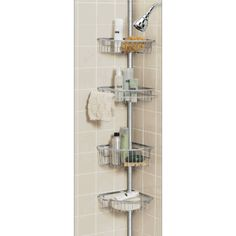 Merveilleux Pole Shower Caddy Rust Proof | Pole Tochrome Tension Shower Hang Corner  Shower Caddy, Shower