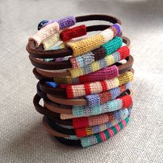 Leather & crochet cotton striped friendship bracelet by kjoo
