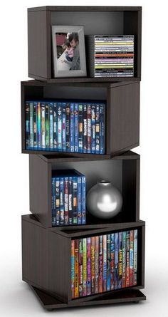 online shopping for Atlantic 4 Tier Rotating Cube Espresso from top store. See new offer for Atlantic 4 Tier Rotating Cube Espresso Media Storage Tower, Dvd Storage, Cube Storage, Storage Organization, Bedroom Organization, Storage Ideas, Movie Storage, Storage Rack, Shelf Organizer