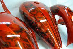 Epic Firetruck's Motor'sicle Paint ~ Nub Grafix ~ Custom Motorcycle Paint Jobs, Custom Paint Jobs, Airbrush Skull, Bobber, Motos Harley Davidson, Custom Tanks, Motorcycle Tank, Custom Airbrushing, Paint Photography