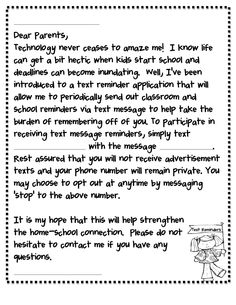 Remind 101 Parent Letter: This is like the coolest thing ever!  I've used this for 2 years now, and it is wonderful!  Betsy