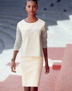 MAR '14 Style Guide: J.Crew back-zip colorblock sweatshirt, No.2 pencil skirt in cotton twill.