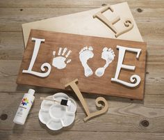 Baby Handprint & Footprint Love Wood Sign Craft…these the BEST Hand & Foot Art… Baby Handprint & Footprint Love Wood Sign Craft…these the BEST Hand & Foot Art Ideas! Kids Crafts, Crafts To Do, Wood Crafts, Craft Projects, Arts And Crafts, Diy Wood, Kids Diy, Creative Crafts, Crafts With Baby