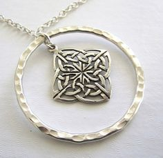Sterling Hammered Circle and Celtic Flower Pendant  Necklace