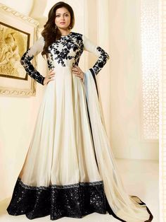 Cream Georgette Designer Anarkali Suit