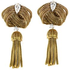 Fabulous 1950's French Gold Dangling Diamond Tassel Earrings