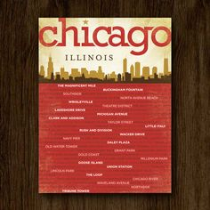 Chicago Neighborhoods Poster with Chicago Skyline
