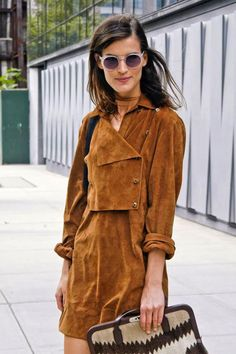 70s style camel suede dress #thetinyblonde