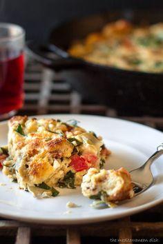 Easy Egg Casserole with Artichokes, Parsley and Feta