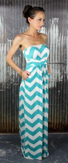 Ooo im in love with this dress! Aqua Chevron Maxi Dress