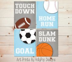 Boy Nursery Art Sport Decor Touch Down By Hollypopdesigns