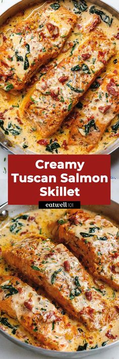Creamy Garlic Tuscan Salmon With Spinach and Sun-Dried Tomatoes - salmon recipe - Smothered in a luscious garlic butter spinach and sun-dried tomato cream sauce this Tuscan salmon recipe is so easy quick and simple - recipe by Baked Salmon Recipes, Fish Recipes, Seafood Recipes, Chicken Recipes, Dinner Recipes, Medeteranian Recipes, Recipies, Healthy Recipes, Vegetarian Recipes