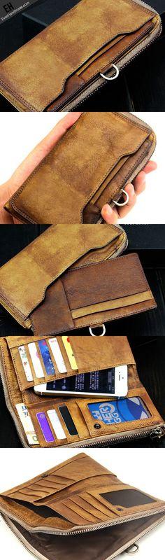 Handmade men long leather wallet men vintage brown gray long wallet for him-SR