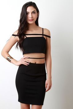 Caged Shoulder Crossing Straps Bodycon Dress