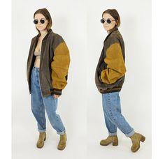 Multi-Tone Brown Suede Early 90s Bomber Jacket, Oversized Vintage Leather Varsity Jacket, 90s Grunge Boho, Unisex Size Large