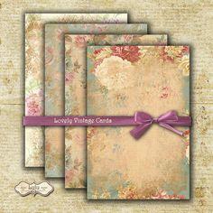 Lovely Vintage Cards - Digital Collage Sheet - Printable Cards - Scrapbook Paper - Digital Cards - Instant Download