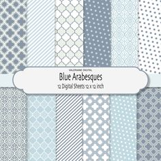 Blue arabesques Digital scrapbook classic printable paper pack, 12 jpg files 12x12 -INSTANT DOWNLOAD Pack 018