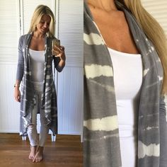 Ash Drape Duster ▪️Item Description: This is so pretty, I love the drape and tie dye detail, very on trend. Extremely lightweight, great for breezy days. Price Firm  ▪️Modeling: Small  ▪️Material: 60% Poly 40% Cotton Sweaters Cardigans