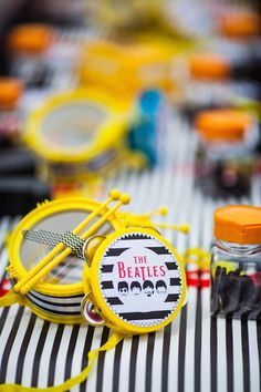Miniature Drum Set party favors from a Beatles Inspired 1st Birthday Party via Kara's Party Ideas KarasPartyIdeas.com (30)