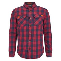 Superdry Men's Rookie Flannel Shirt (360 BRL) ❤ liked on Polyvore featuring men's fashion, men's clothing, men's shirts, men's casual shirts, men, men wear, mens shirts and red