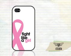 iPhone Case - Fight Like A Girl Breast Cancer Awareness Phone 4 Case, iPhone 4s Case, Cases for iPhone 4, iPhone Cover  (0030). $14.99, via Etsy.
