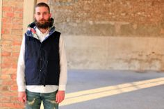 Engineered Garments---Hooded Padded Vest---Navy Nyco Ripstop - Nouveautés