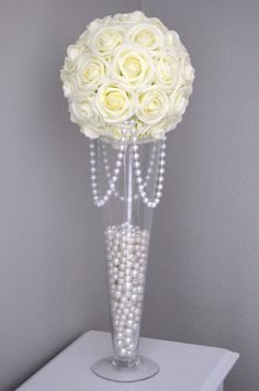 IVORY Elegant Real Touch Roses flower ball with draping pearls. You will be absolutely amazed at how real and stunning the roses look. The foam has crisp edges and holds its form over time. Ivory Wedding Decor, Pearl Wedding Decorations, Wedding Table, Wedding Reception, Rustic Wedding, Wedding Venues, Pearl Centerpiece, Candle Centerpieces, Wedding Centerpieces