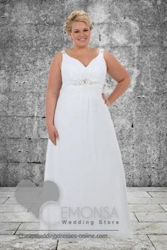 A Line Strap Neckline V Neck Chapel Train Sleeveless White Chiffon Plus Size Wedding Gown with Beading (PLWG 311) - US$139.00 : Cheap Plus Size Wedding Dresses and Mother of Bride Dresses from Cemonsa Wedding Store