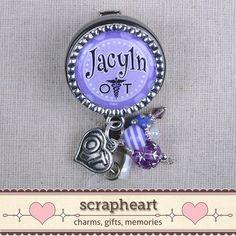 Personalized OT Name Badge Cute Purple Polka by ScrapheartGifts