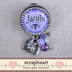 Personalized OT Name Badge Cute Purple Polka by ScrapheartGifts