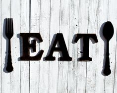 Rustic Eat Sign Eat Wooden Sign Fork And Spoon Wooden Eat Sign Eat Sign For  Kitchen Dining Room Signs Kitchen Signage Dining Room Sign