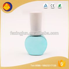 Hot selling wholesale blue plating 15ml empty glass nail polish bottles pack with white lid