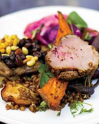 Spiced Pork Tenderloin with Hazelnut Vinaigrette   The rub on this pork is Octavio Becerra's take on za'atar, a spice blend that gets its pungency from ground sumac.