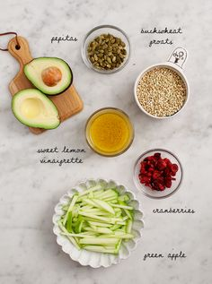 Buckwheat, Apple, Cranberry Avocado Salad - A healthy, hearty, lemon-ey salad from the cookbook Blissful Basil. Vegan and gluten free.