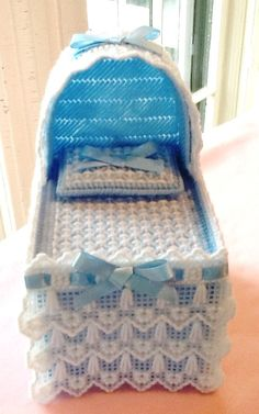 Pastel Blue Baby Bassinet Tissue Box Cover by Sillysockmonkeys, $15.00