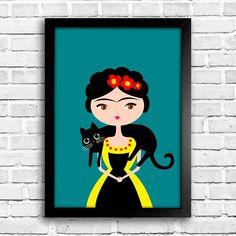 Poster Frida - Gato - Encadreé Posters Encontre a arte perfeita para sua decoração na Encadreé Posters.  Palavras-chave: parede decorada, parede de quadros, posters, quadros, decor, decoração, presentes criativos, arte, ilustração, decoração de interiores, decoração criativa, quadros decorativos, posters com moldura, frida kahlo